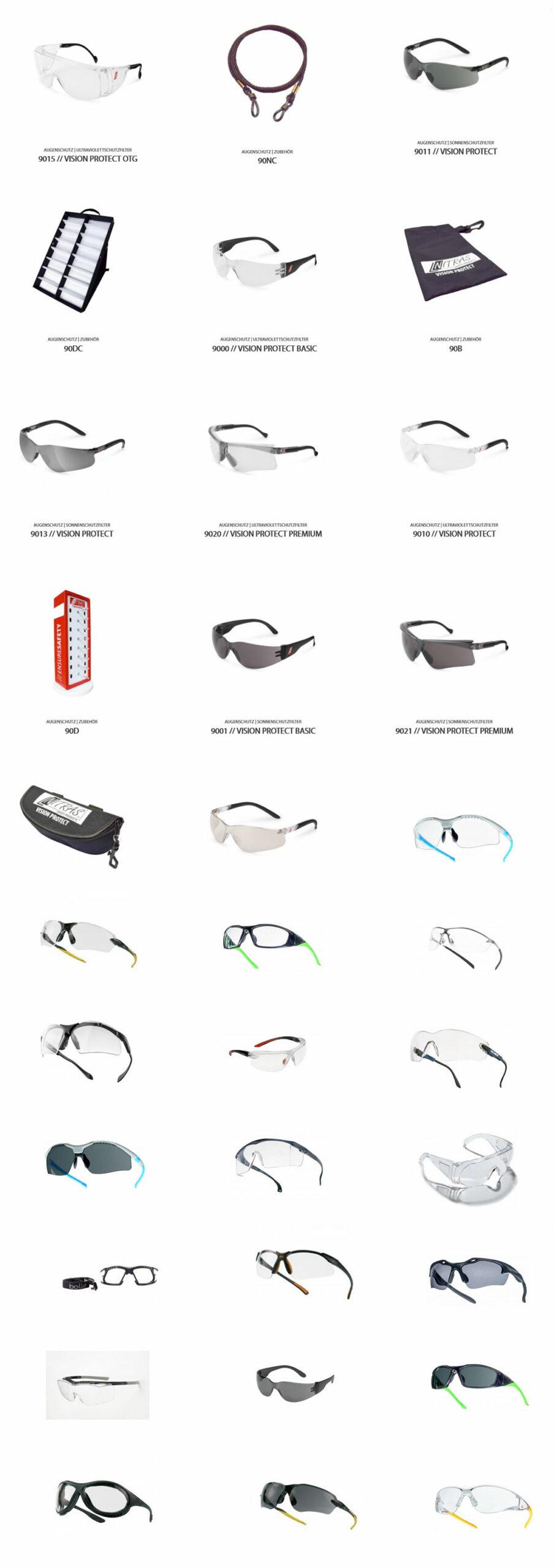 Übersicht Schutzbrillen